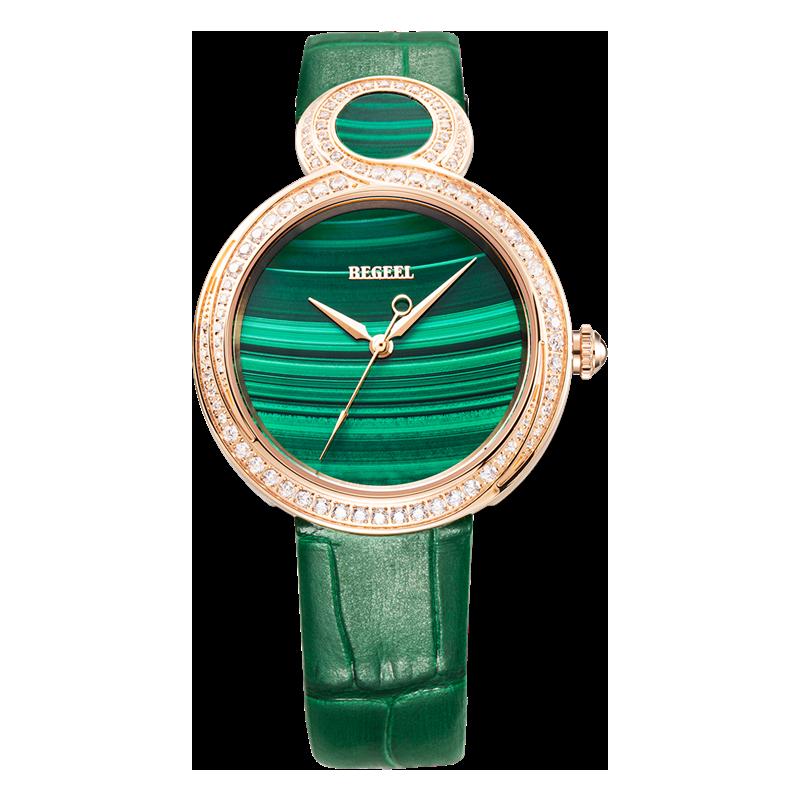 BEGEEL宾爵绿孔雀女士石英腕表